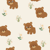Spring seamless pattern with bears Stock Photo