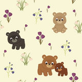 Spring seamless pattern with bears Royalty Free Stock Photo