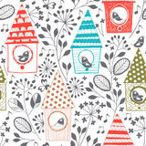 Spring seamless pattern with birds, floral and birdhouses.Cartoo Royalty Free Stock Photography