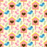 Spring seamless pattern with birds and starling house. Birdhouse endless background.  Stock Photo