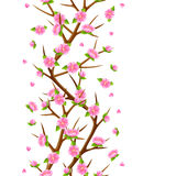 Spring seamless pattern with branches of tree and sakura flowers. Seasonal illustration Stock Images