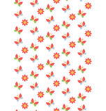 Spring seamless pattern with butterflies and flowers isolated on Royalty Free Stock Photography