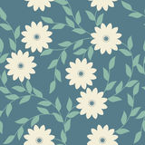 Spring seamless pattern with chamomile flowers and leaves Royalty Free Stock Image