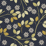 Spring seamless pattern with decorative flowers and leaves Royalty Free Stock Photography