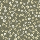 Spring seamless pattern with decorative flowers and leaves on gr Royalty Free Stock Images