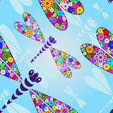 Spring seamless pattern with dragonflies. Spring seamless pattern with floral colorful dragonflies Stock Images