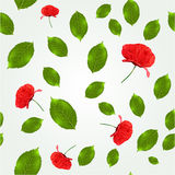 Spring seamless pattern with leaves and poppies Royalty Free Stock Image