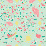 Spring Seamless Pattern. Seasons pattern. Seamless vector texture with springs elements Royalty Free Stock Image