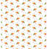 Spring seamless pattern with umbrellas and rain isolated on whit Royalty Free Stock Image