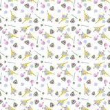 Spring seamless pattern, umbrella design and flowers watercolor stock illustration