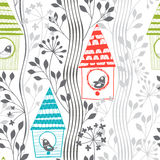 Spring Seamless Pattern With Birds, Flowering Trees And Birdhouses.Cartoon Vector Illustration. Royalty Free Stock Images