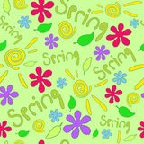 Spring seamless with sun, flowers and leaf Royalty Free Stock Photos