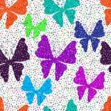 Spring seamless vivid white pattern. Motley spring seamless vivid white pattern with butterflies (vector eps 10 Stock Photos