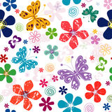 Spring seamless white floral pattern. Spring  effortless white floral pattern with vivid flowers and   butterflies Royalty Free Stock Images