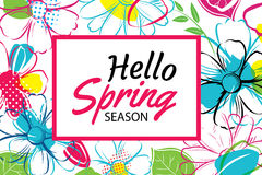 Spring season banner template background with colorful flower.Ca. N be use voucher, wallpaper,flyers, invitation, posters, brochure, coupon discount Stock Photo