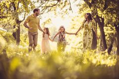 Spring season is best time of year for spending time with family. Beauty in nature stock photo