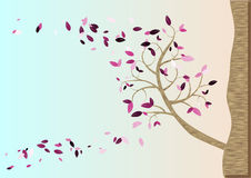 Spring season card. Spring season post card with a tree growing up from the rock Royalty Free Illustration