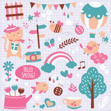 Spring season clip art elements Stock Photos