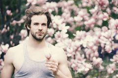Spring season concept. New life and optimism. Macho with beard in grey singlet on floral background. Flourishing and growth. Man holding magnolia flower in royalty free stock photo