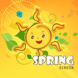 Spring season concept with smiling sun. Smiling sun with text Spring Season on stylish background Stock Image