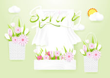 Spring season concept. Window with flowers baskets. Royalty Free Stock Images