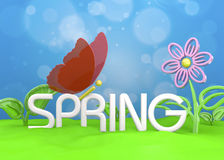 Spring Season - 3D. Spring Season, Butterfly and Flower Stock Images