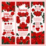 Spring season floral banner with red rose flower. Spring season holiday floral banner set with red rose bouquet. Blooming flower of garden rose plant with red Stock Images