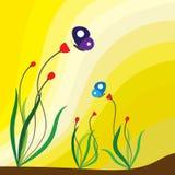 Spring season flowering plants and butterflies Stock Photo