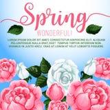 Spring season flowers greeting card design Stock Photos