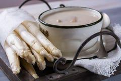 Spring Season - Homemade White Asparagus Soup, Ready To Eat Stock Photography