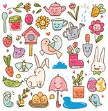 Spring season kawaii doodle set stock illustration