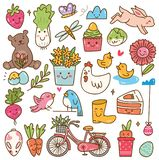 Spring season kawaii doodle set. Can be use as background, design elements, and other creative purposes vector illustration