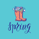 Spring season lettering card Stock Image