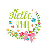 Spring season.Lettering Hello spring,flower wreath Royalty Free Stock Photography