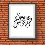 Spring Season Message in a Frame on Brick Wall Stock Photos