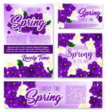 Spring season purple flower banner template. Set. Floral frame border and bunch of blooming crocus, violet and jasmine flowers, green branch and leaf for Royalty Free Stock Photos