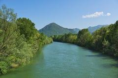 Spring landscape over the river Toce Stock Image