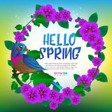 Spring season round frame witn exotic bird sitting on a branch with leaves and flowers. Hand drawn vector illustration with text Hello Spring Stock Images