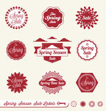 Spring Season Sale Labels and Stickers. Collection of vintage style spring season sale labels and stickers Stock Images