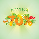 Spring season sale 70% off. Spring season sale seventy percent off. Lettering design with floral elements Stock Photography