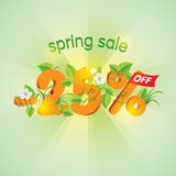 Spring season sale 25% Off. Spring season sale twenty-five percent off. Lettering design with floral elements Stock Image