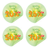 Spring season sale stickers. Discount decorated with floral elements Stock Images