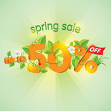 Spring season sale Up To 50% Off. Spring season sale up to fifty percent off. Lettering design with floral elements Stock Image