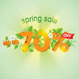 Spring season sale Up To 70% Off. Spring season sale up to seventy percent off. Lettering design with floral elements Royalty Free Stock Images