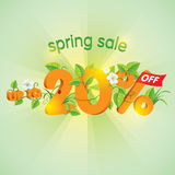 Spring season sale Up To 20% Off. Spring season sale up to twenty percent off. Lettering design with floral elements Royalty Free Stock Image