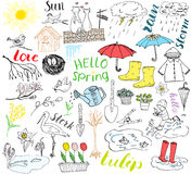 Spring season set doodles elements. Hand drawn sketch set with umbrella, rain, rubber boots, raincoat, flovers, garden tools, nest. And birds. Drawing doodle Stock Images