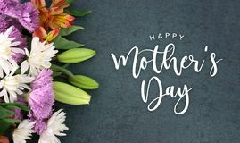 Happy Mother`s Day greeting holiday script over dark blackboard background texture. Spring season still life with Happy Mother`s Day greeting holiday script over vector illustration