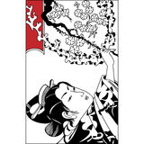 Spring season vector background with beautiful Japanese geisha a Stock Photos