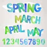 Spring season  watercolor names Royalty Free Stock Photos
