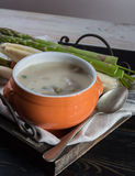 Spring season - white and green asparagus soup, ready to eat ser Royalty Free Stock Photography